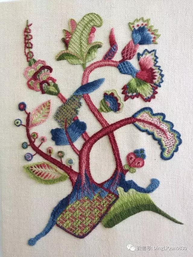 「刺绣作品」各种技术混合的缎纹刺绣,喜欢就抱走吧!
