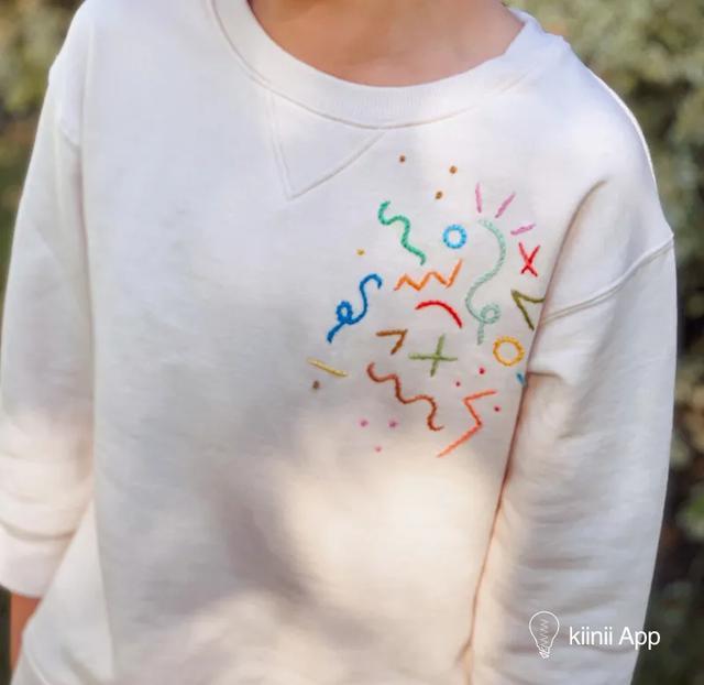用最简单的刺绣针法,给纯色的衣服来点彩色图案吧,刺绣教程