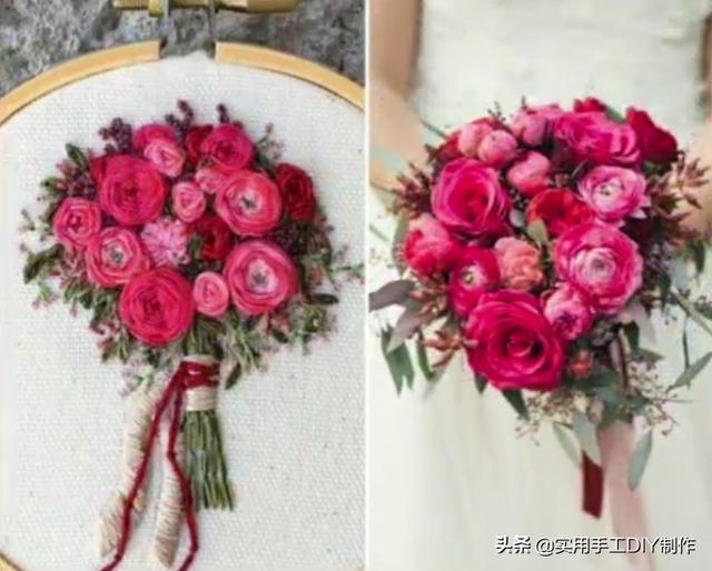 「刺绣作品」美丽的婚礼花束刺绣图案,可以与真花相媲美了
