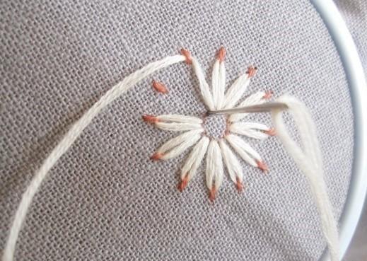 手工DIY:零基础学刺绣,一会儿绣完一朵小花花,针法太简单了